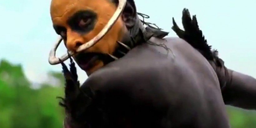 One of the more frightening headhunters in The Green Inferno