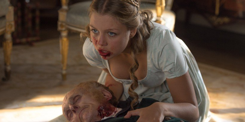 Annabelle (Jess Radomska) chewing her grandfather in Pride and Prejudice and Zombies.