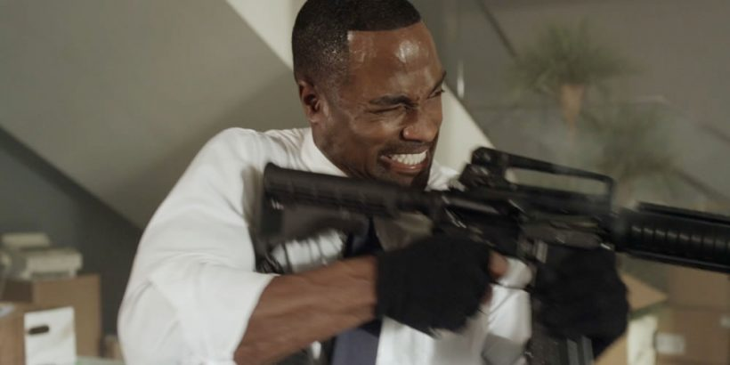 Mykel Shannon Jenkins as Washington in the thriller film THE LAST HEIST an XLrator Media release. Photo courtesy of XLrator Media.