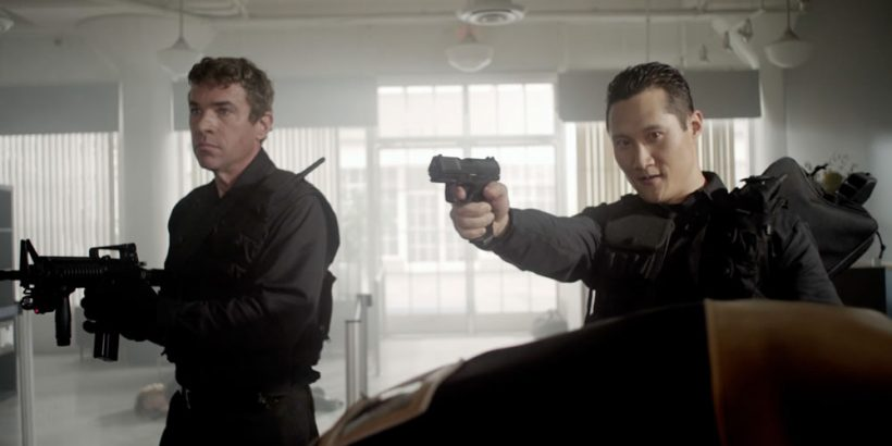 John J. York as Sinclair and Steve Suh as Chen in the thriller film THE LAST HEIST an XLrator Media release. Photo courtesy of XLrator Media.