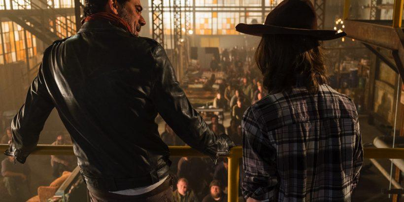 Chandler Riggs as Carl Grimes, Jeffrey Dean Morgan as Negan - The Walking Dead _ Season 7, Episode 7 - Photo Credit: Gene Page/AMC