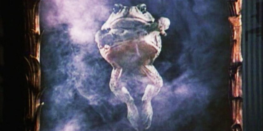 A giant frog surrounded by smoke