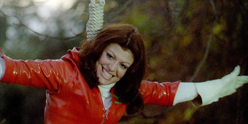 Smiling woman in a noose
