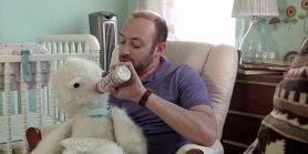 Adam feeds his yeti love child Baby Eddie the Yeti